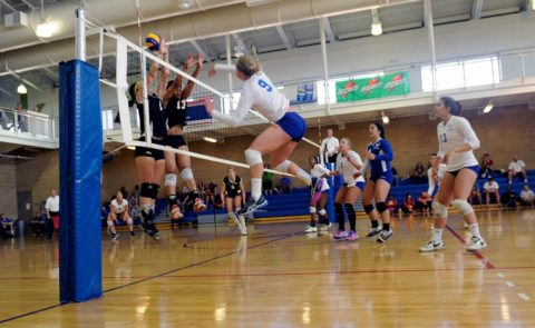 UW-Eau Claire Blugold volleyball team playing